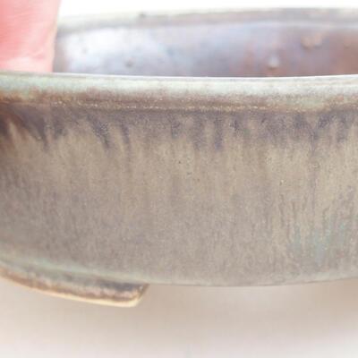 Keramische Bonsai-Schale 12 x 11 x 3 cm, Farbe braun-grün - 2