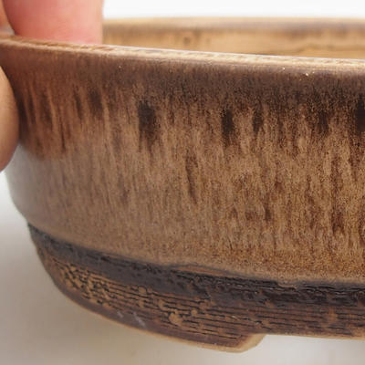 Keramik Bonsaischale 15,5 x 15,5 x 4,5 cm, Farbe braun - 2