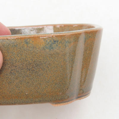 Keramische Bonsai-Schale 12 x 9,5 x 4,5 cm, Farbe grau-rostig - 2