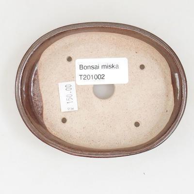 Keramische Bonsai-Schale 11 x 9 x 2,5 cm, braune Farbe - 3