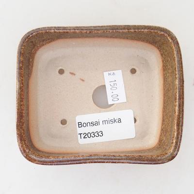 Keramische Bonsai-Schale 9,5 x 8 x 3,5 cm, braun-grüne Farbe - 3