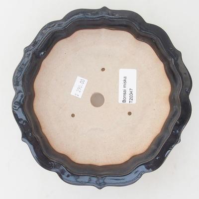 Keramische Bonsai-Schale 18 x 18 x 5 cm, braun-blaue Farbe - 3