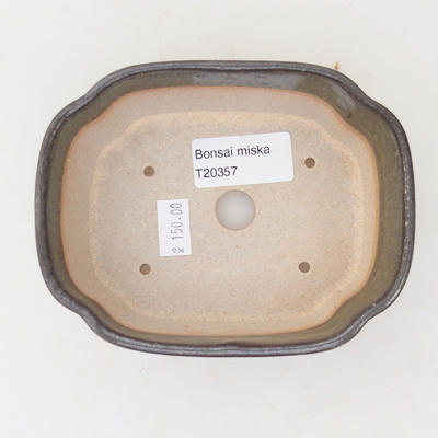 Keramische Bonsai-Schale 12,5 x 10 x 4,5 cm, graugrüne Farbe - 3