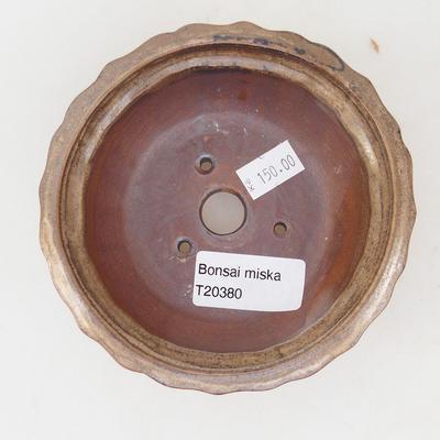Keramische Bonsai-Schale 11,5 x 11,5 x 4,5 cm, braun-beige Farbe - 3
