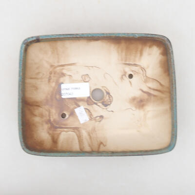 Keramische Bonsai-Schale 20 x 15,5 x 5 cm, braun-grüne Farbe - 3