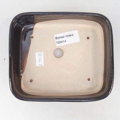 Keramische Bonsai-Schale 14 x 12 x 4,5 cm, braun-blaue Farbe - 3