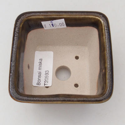 Keramische Bonsai-Schale 8,5 x 8,5 x 5 cm, Farbe grün-gold - 3