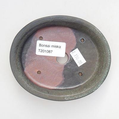 Keramische Bonsai-Schale 12 x 10 x 2,5 cm, graue Farbe - 3