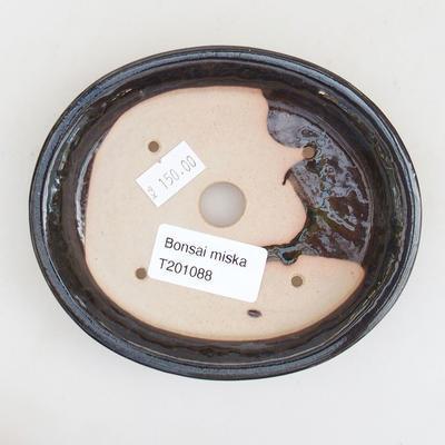 Keramische Bonsai-Schale 12 x 10 x 2,5 cm, Farbe schwarz-blau - 3