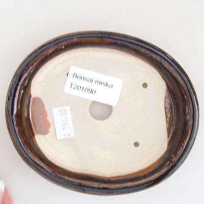 Keramische Bonsai-Schale 12 x 10 x 2,5 cm, braune Farbe - 3