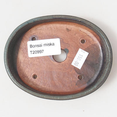 Keramische Bonsai-Schale 11 x 9 x 2,5 cm, braun-blaue Farbe - 3