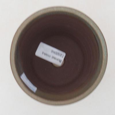 Keramische Bonsai-Schale 9,5 x 9,5 x 10 cm, Farbe braun-grün - 3