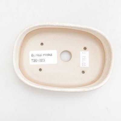 Keramische Bonsai-Schale 12,5 x 8,5 x 3,5 cm, beige Farbe - 3