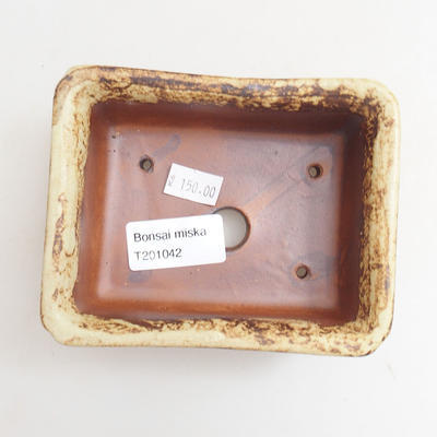 Keramische Bonsai-Schale 12 x 10 x 4,5 cm, Farbe braun-gelb - 3
