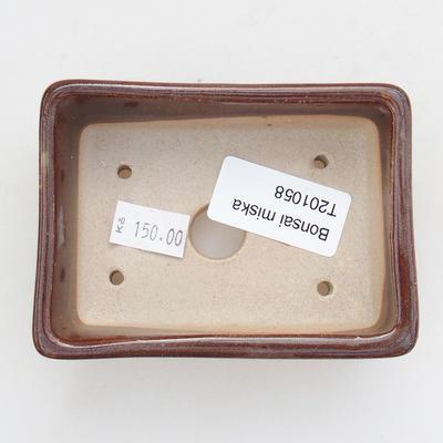 Keramische Bonsai-Schale 9,5 x 7 x 3 cm, braune Farbe - 3