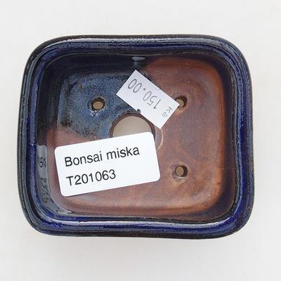 Keramische Bonsai-Schale 7,5 x 7 x 3 cm, Farbe blau - 3