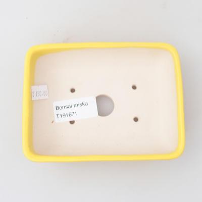 Keramik Bonsai Schüssel 13 x 9,5 x 3,5 cm, gelbe Farbe - 3