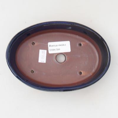 Bonsaischale aus Keramik 16 x 11 x 4 cm, Farbe blau - 3