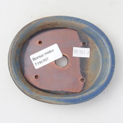Keramik Bonsaischale 12,5 x 11 x 2 cm, Farbe blau - 3