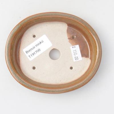 Keramik Bonsai Schüssel 12,5 x 11 x 2 cm, braune Farbe - 3