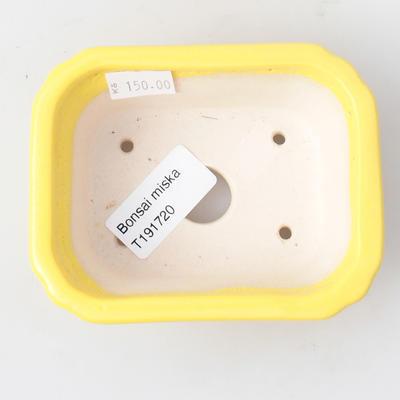 Keramik Bonsai Schüssel 10,5 x 8,5 x 4 cm, gelbe Farbe - 3