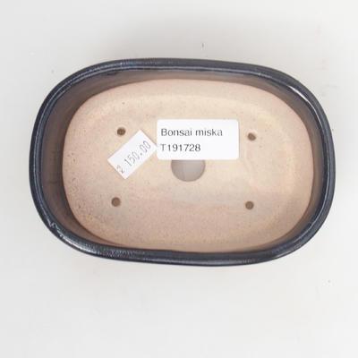 Keramik-Bonsaischale 12,5 x 8,5 x 3,5 cm, blauschwarze Farbe - 3