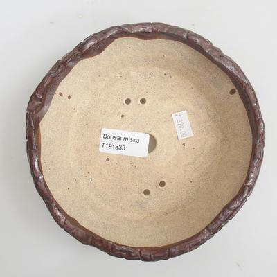 Keramik Bonsai Schüssel 16 x 16 x 5 cm, braune Farbe - 3