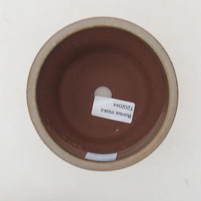 Keramische Bonsai-Schale 10,5 x 10,5 x 9 cm, braun-grüne Farbe - 3