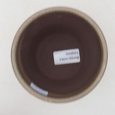 Keramische Bonsai-Schale 10,5 x 10,5 x 10 cm, Farbe braun-grün - 3
