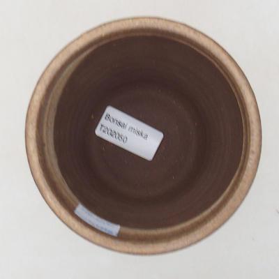 Keramische Bonsai-Schale 10,5 x 10,5 x 9,5 cm, braune Farbe - 3