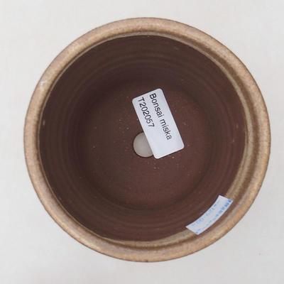 Keramische Bonsai-Schale 10,5 x 10,5 x 9,5 cm, beige Farbe - 3