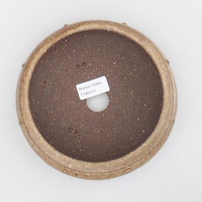 Keramik Bonsai Schüssel - 17 x 17 x 5,5 cm, braun-beige Farbe - 3