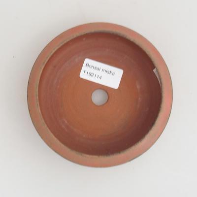 Keramik Bonsaischale 12 x 12 x 4 cm, Farbe rot - 3