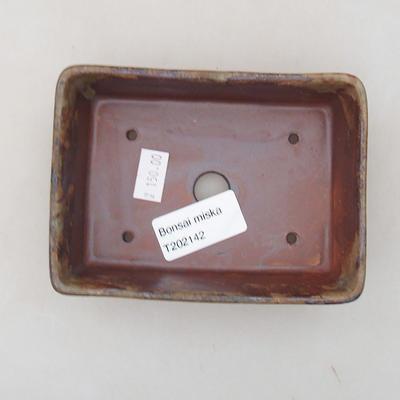 Keramische Bonsai-Schale 12 x 9 x 3,5 cm, Farbe braun - 3