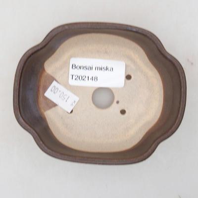 Keramische Bonsai-Schale 10 x 8 x 3 cm, Farbe braun - 3