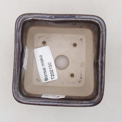 Keramische Bonsai-Schale 8 x 8 x 5 cm, Metallfarbe - 3