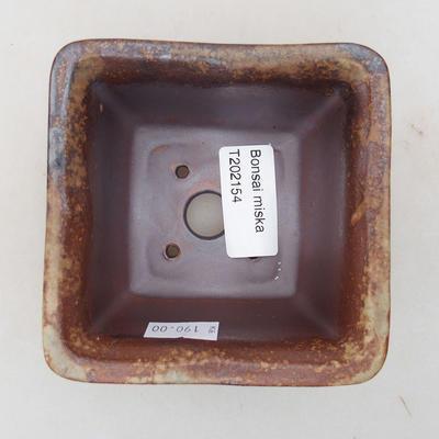 Keramische Bonsai-Schale 9 x 9 x 5,5 cm, braune Farbe - 3