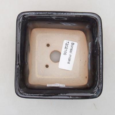 Keramische Bonsai-Schale 9 x 9 x 5,5 cm, Farbe blau - 3