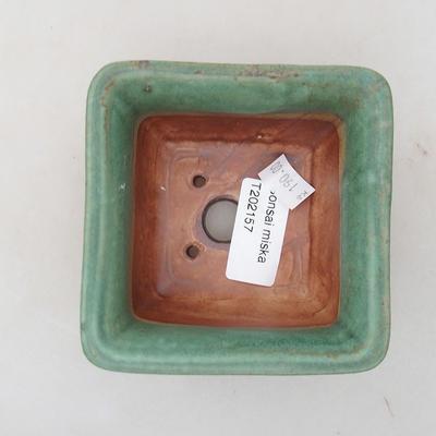 Keramische Bonsai-Schale 9 x 9 x 5,5 cm, Farbe grün - 3