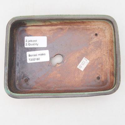 Keramische Bonsai-Schale 18 x 13 x 4,5 cm, Farbe braun-grün - 2. Qualität - 3