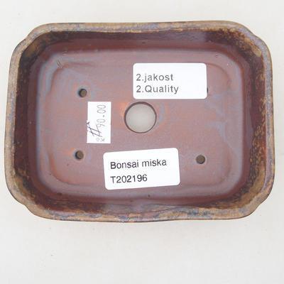 Keramische Bonsai-Schale 12,5 x 9,5 x 3 cm, Farbe braun-grün - 2. Qualität - 3