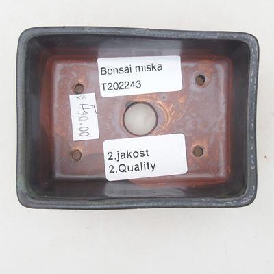 Keramische Bonsai-Schale 9,5 x 7 x 3,5 cm, graue Farbe - 2. Qualität - 3