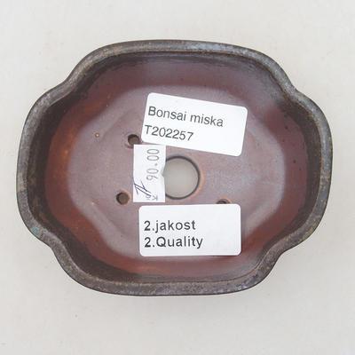 Keramische Bonsai-Schale 10,5 x 9 x 3,5 cm, braun-blaue Farbe - 2. Qualität - 3