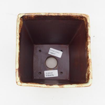 Bonsaischale aus Keramik 2. Wahl - 15 x 15 x 19 cm, braun-gelbe Farbe - 3