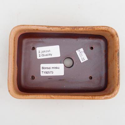 Bonsaischale aus Keramik 2. Wahl - 16 x 10 x 5,5 cm, Farbe braun-pink - 3