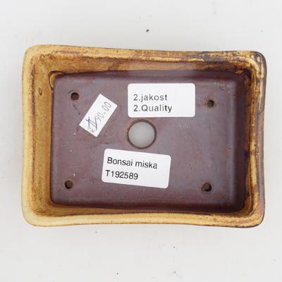 Keramik Bonsaischale 2. Wahl - 12 x 9 x 3,5 cm, braun-gelbe Farbe - 3