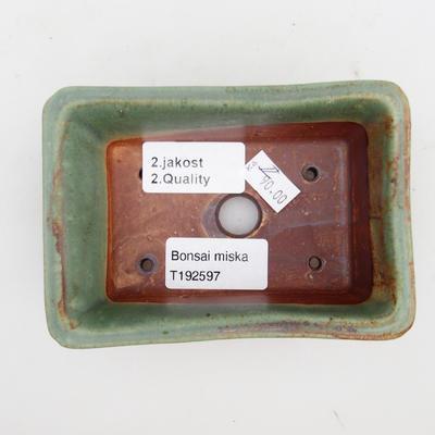 Keramik Bonsaischale 2. Wahl - 12 x 8 x 4 cm, braun-grüne Farbe - 3