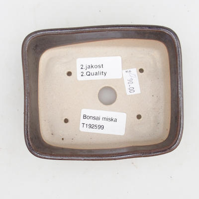 Keramik Bonsai Schüssel 2. Wahl - 12 x 10 x 4 cm, braune Farbe - 3