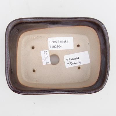 Keramik Bonsaischale 2. Wahl - 13 x 10 x 6 cm, Farbe braun - 3