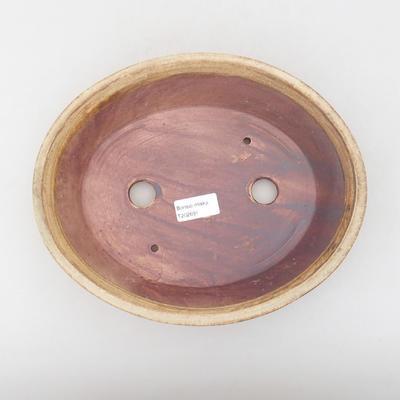 Keramische Bonsai-Schale 26,5 x 21,5 x 6 cm, braune Farbe - 3